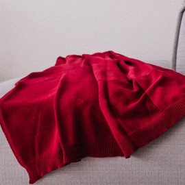 LUGOS - Plaid Uni 120 x 160 - Maille Rouge Tissée Coton