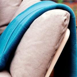 GRUISSAN - Plaid Uni Bleu 120 x 160 - Maille Tissée Coton