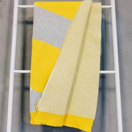 AZILLE - Plaid 120 x 160 cm - Maille Graphique Jaune Gris