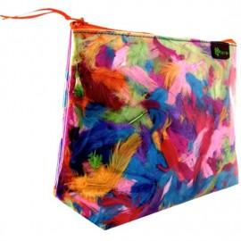 Pochette TOLUCA PLUMAS trousse de toilette à plumes colorées