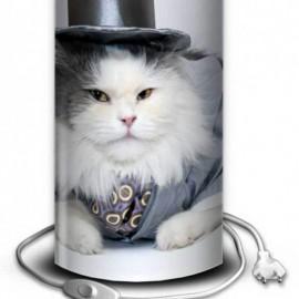 GAIA - Lampe de Chevet 30 cm - Imprimé Chat Glamour