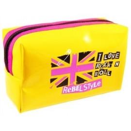 Trousse à crayons REBEL STYLE jaune design rock London