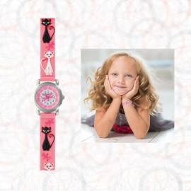 STELLA - Montre Chat - Montre Enfant Fille - Bracelet Rose