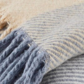 ETEL - Plaid à Carreaux 170 x 200 cm - Tartan Bleu/Beige