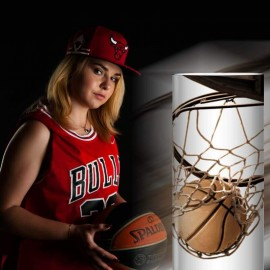 BASKET - Lampe à Poser 80 cm - Décor Ballon Basketball