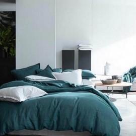 CUSEY - Housse de Couette 220 x 240 cm - Lin Uni Vert