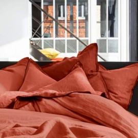 BARCARES - Housse de Couette 220 x 240 - Lin Uni Rouge