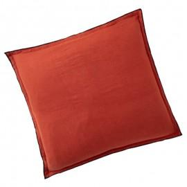 BARCARES - Taie d'Oreiller Carrée 65 x 65 - Lin Uni Rouge
