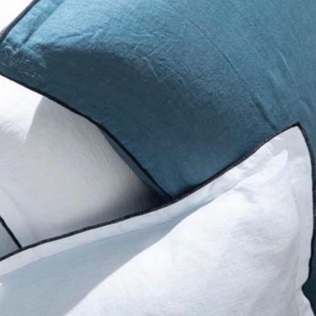 THAA - Taie d'Oreiller Carrée 65 x 65 cm - Lin Uni Blanc