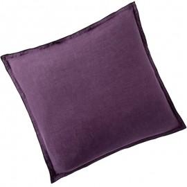 ARLES - Taie d'Oreiller Carrée 65 x 65 - Lin Lavé Uni Violet