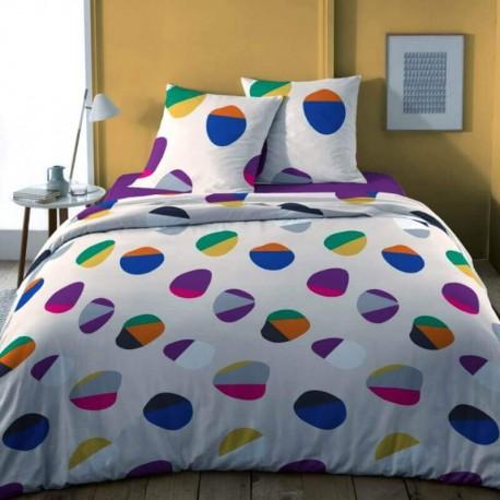 VALLA - Parure de Lit 220 x 240 - Motifs Cercles Colorés