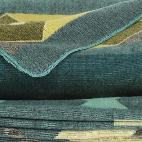 TARA - Plaid Imprimé 200 x 235 - Tissé Aqua Alpaga Coton