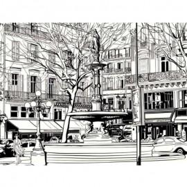 PARIS - Papier Peint Panoramique - Fontaine Parisienne