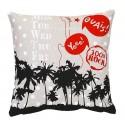 PALMIERS Housse de coussin 40x40 cm motif palmier - noir gris rouge