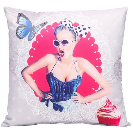 Coussin pin up retro 40x40cm d co peps decoration r tro - Deco chambre annee 60 ...