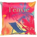 Coussin ENVIE décoration tropicale 30x30 cm velours