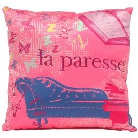 Coussin PARESSE velours rose bleu 30x30 cm