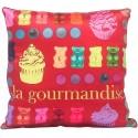 Coussin GOURMANDISE motif bonbons 30x30 cm décoration chambre adolescent
