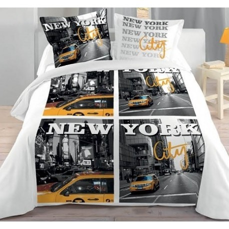 New york city housse couette 2 taies lit 2 personnes for Housse de couette new york