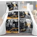 NEW YORK CITY housse de couette 220*240 cm + 2 taies d'oreiller lit 2 personnes