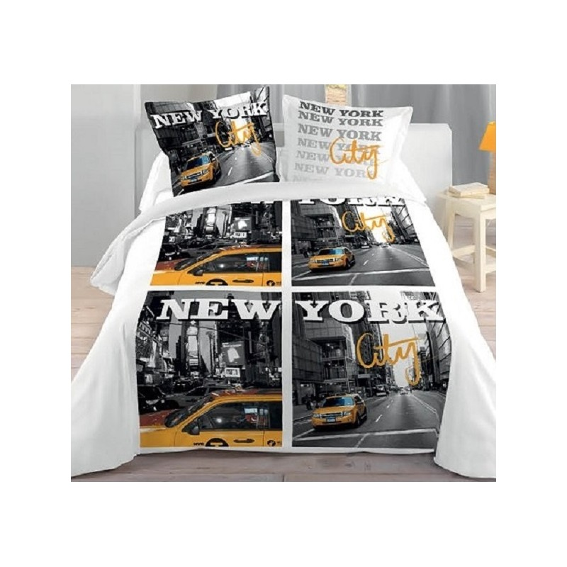 New york city housse couette 2 taies lit 2 personnes for Drap housse new york