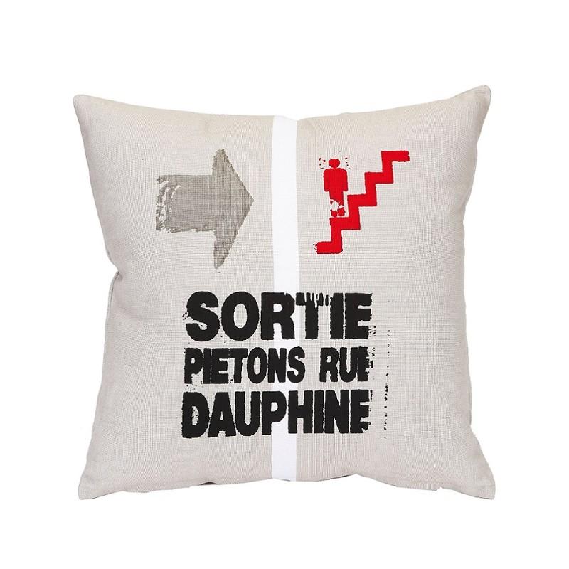 coussin paris rue dauphine 40x40cm coton d coration. Black Bedroom Furniture Sets. Home Design Ideas