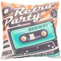 CASSETTE Coussin K7 audio 40x40 cm orange vintage déco rétro