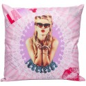 GLOSSY Coussin pin up girly rose 40x40 cm décoration chambre adolescente