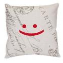 SMILE housse de coussin 40x40 cm motif sourire rouge gris