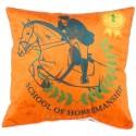 EQUITATION coussin velours 30x30 cm imprimé cavalier cheval orange et vert