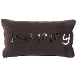 HAPPY coussin velours marron brodé sequins 30x50 cm