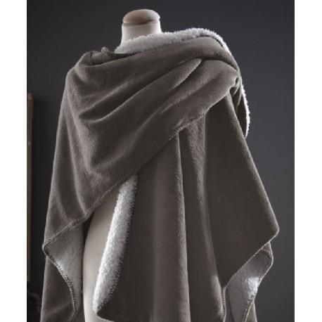 COCOON plaid châle polaire doublé fourrure couleur Mastic sherpa