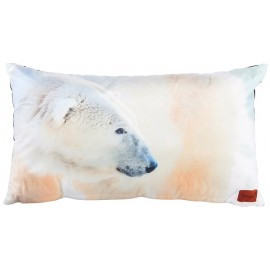 GALAK coussin ours blanc polaire 30x50 cm velours