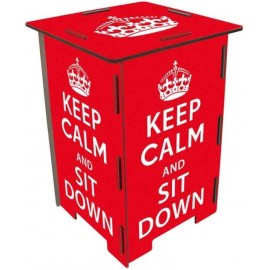 KEEP CALM Tabouret en medium rouge à message