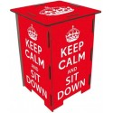 KEEP CALM -Tabouret en Medium Rouge à Message