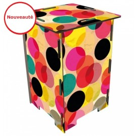 DOTS - Tabouret en Medium imprimé de Pois, ronds Multicolores