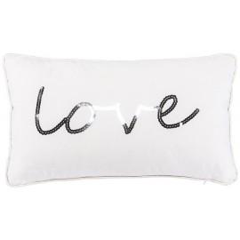 LOVE coussin 30 x 50 cm velours blanc brodé de sequins argentés passepoil blanc satiné imitation cuir Home Stories