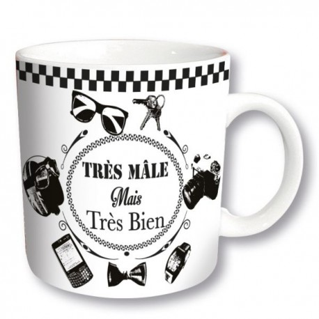 TRES MALE mug à message noir fond blanc