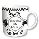 TRES MALE mug à message noir fond blanc