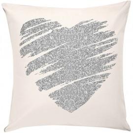 HEART Coussin blanc coeur argenté carré 40 x 40 cm velours ambiance love