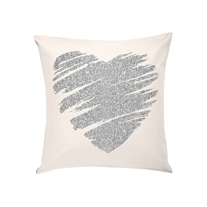 heart coussin carr 40 40 coussins en velours blanc. Black Bedroom Furniture Sets. Home Design Ideas