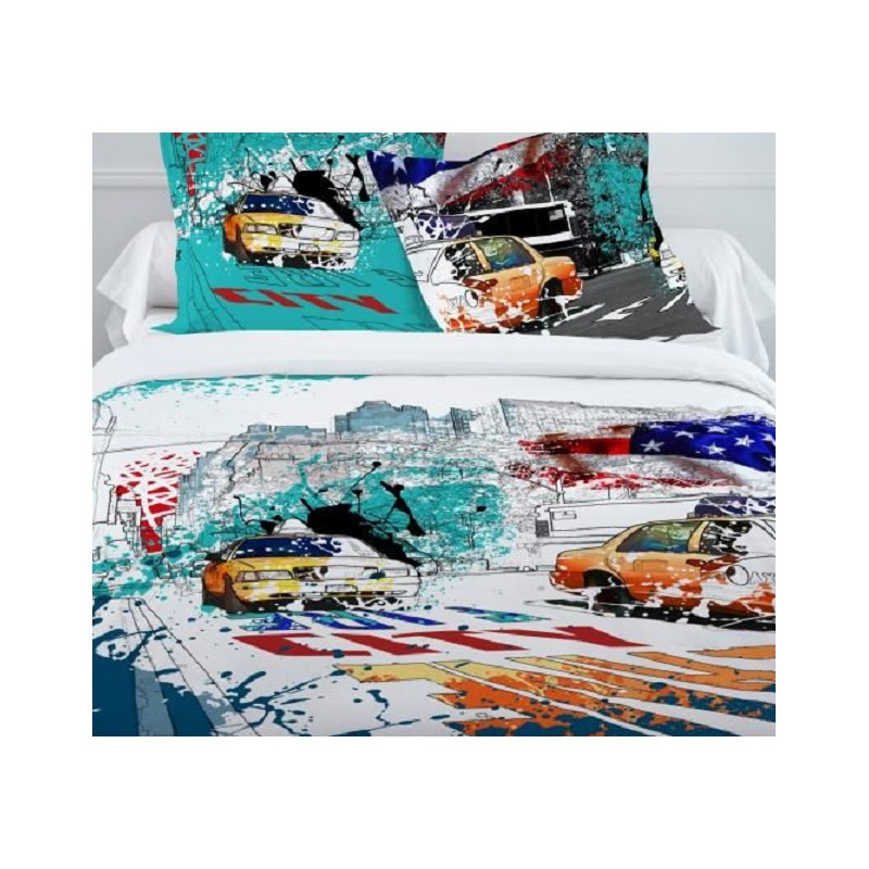 Ny Colors Parure Housse Couette 240x220cm 2 Taies 63x63cm