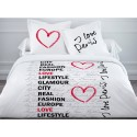 I LOVE PARIS housse de couette 240*220 cm + 2 taies d'oreiller - Parure lit 2 personnes