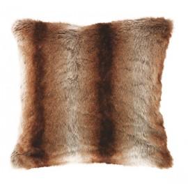 TRATTO coussin fausse fourrure fauve imitation poil animal 45 45 cm marron  gris a1fe84e4d01
