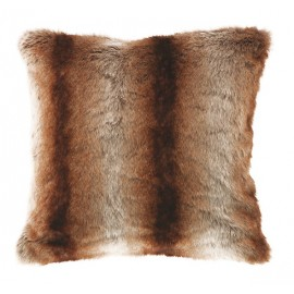 TRATTO coussin fausse fourrure fauve imitation poil animal 45*45 cm marron gris