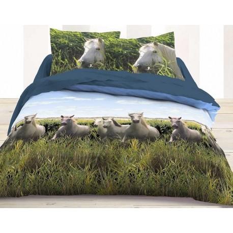chevaux parure bord de mer housse couette 200 200cm taies 63x63 deco. Black Bedroom Furniture Sets. Home Design Ideas