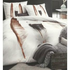 PLUMES housse de couette 240*220 cm + 2 taies d'oreiller - Parure lit 2 personnes coton