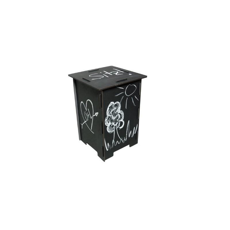 ardoise tabouret m dium bois imprim tableau noir. Black Bedroom Furniture Sets. Home Design Ideas