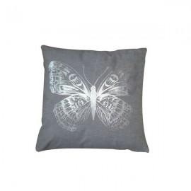 PAPILLON coussin carré 40*40 cm gris motif argenté