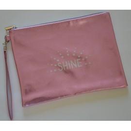 SHINE pochette plate, rose pastel glitter, à poignée amovible irisée de paillettes 26x19 cm